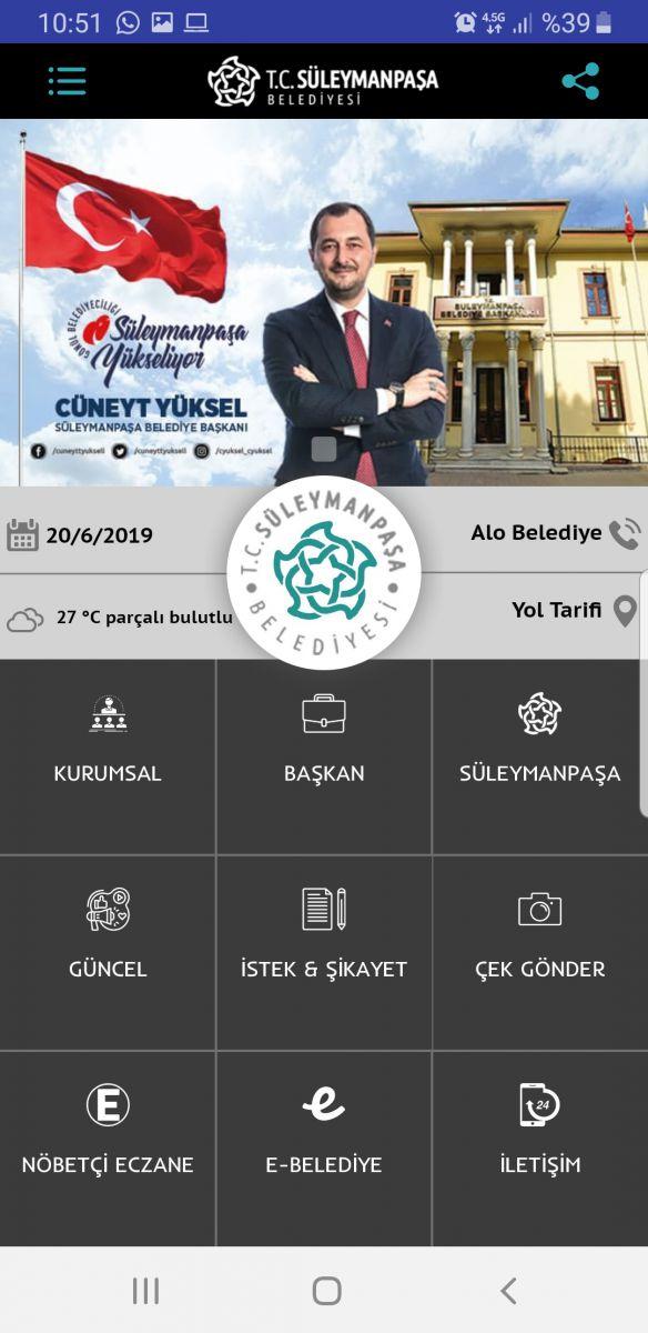Süleyman Paşa Belediyesi mobil uygulaması ile de vatandaşın yanında