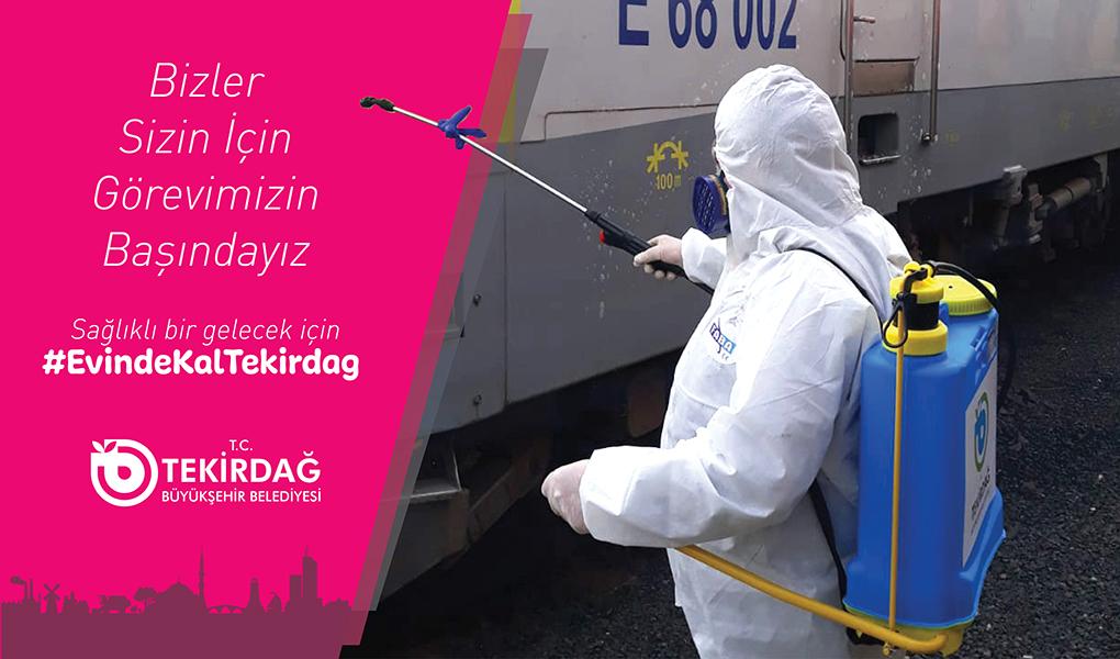 Tekirdağ Büyükşehir Belediyesi'nin Dezenfekte Çalışması Sürüyor